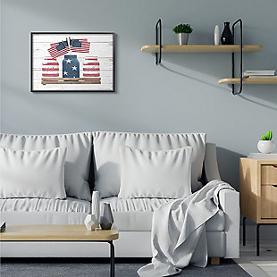 Rustic Patriotic Jars American Pride Flag 24x30 Black Frame Wall Art, White, rollover