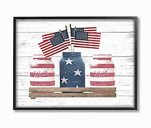 Rustic Patriotic Jars American Pride Flag 24x30 Black Frame Wall Art, White, large