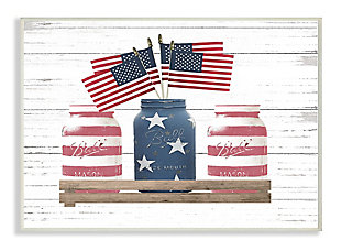 Rustic Patriotic Jars American Pride Flag 13x19 Wall Plaque, White, large