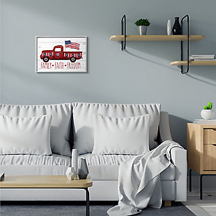 Rustic Faith Family Freedom 16x20 Gray Frame Wall Art, White, rollover