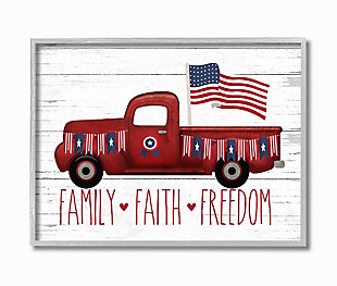 Rustic Faith Family Freedom 16x20 Gray Frame Wall Art, White, large