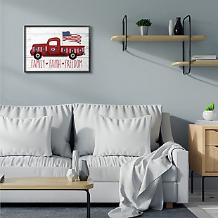 Rustic Faith Family Freedom 24x30 Black Frame Wall Art, White, rollover