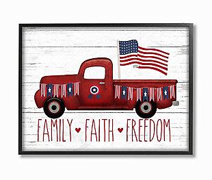 Rustic Faith Family Freedom 24x30 Black Frame Wall Art, White, large