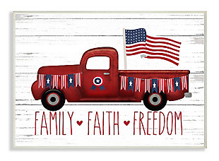 Rustic Faith Family Freedom 13x19 Wall Plaque, White, large