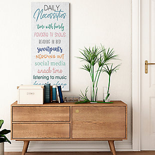 Daily Necessities Home Relaxation Self-care List 20x48 Canvas Wall Art, White, rollover