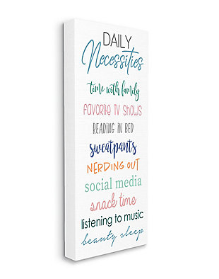 Daily Necessities Home Relaxation Self-care List 20x48 Canvas Wall Art, White, large