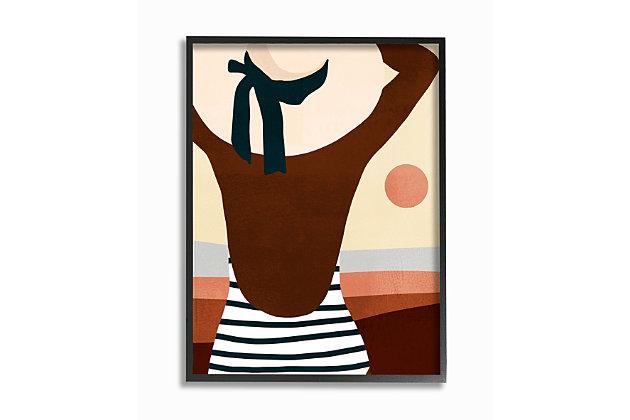Female Beach Swimwear 24x30 Black Frame Wall Art, Multi, large