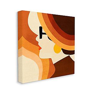 Vintage Female Color Block Portrait 36x36 Canvas Wall Art, Orange, large
