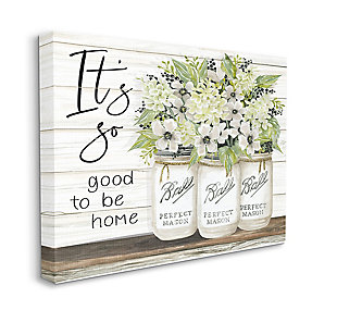 So Good To Be Home 36x48 Canvas Wall Art, White, large
