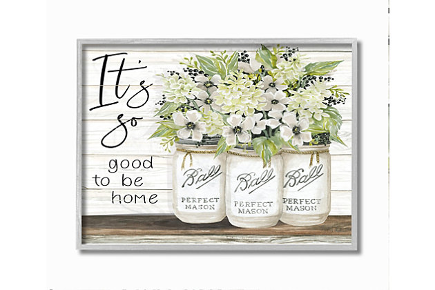 So Good To Be Home 11x14 Gray Frame Wall Art, White, large
