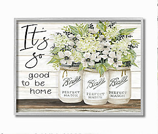 So Good To Be Home 16x20 Gray Frame Wall Art, White, large