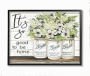 So Good To Be Home 24x30 Black Frame Wall Art, White, large