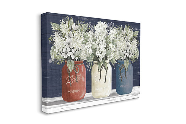 Americana Floral Bouquets Rustic Flowers 30x40 Canvas Wall Art, Blue, large