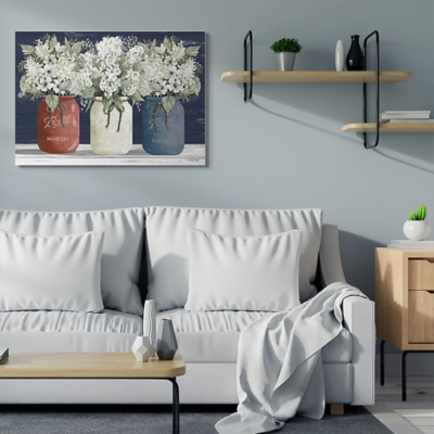 Americana Floral Bouquets Rustic Flowers 36x48 Canvas Wall Art, Blue, large