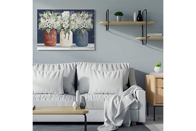 Americana Floral Bouquets Rustic Flowers 36x48 Canvas Wall Art, , large