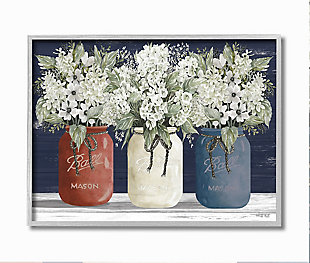 Americana Floral Bouquets Rustic Flowers 16x20 Gray Frame Wall Art, Blue, large