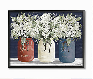Americana Floral Bouquets Rustic Flowers 24x30 Black Frame Wall Art, Blue, large