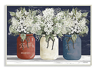 Americana Floral Bouquets Rustic Flowers 13x19 Wall Plaque, Blue, large