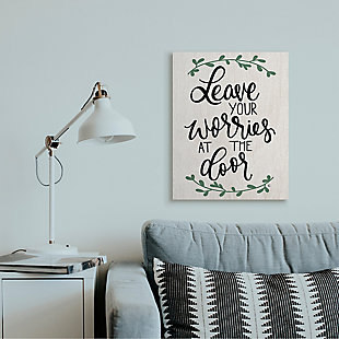 Leave Your Worries at the Door Quote 24x30 Canvas Wall Art, , rollover
