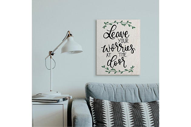 Leave Your Worries at the Door Quote 24x30 Canvas Wall Art, , large