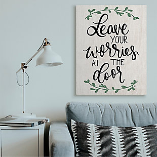 Leave Your Worries at the Door Quote 36x48 Canvas Wall Art, White, rollover