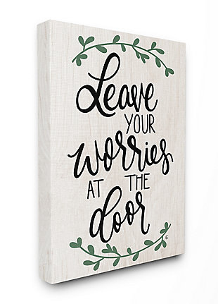 Leave Your Worries at the Door Quote 36x48 Canvas Wall Art, White, large