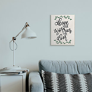 Leave Your Worries at the Door Quote 13x19 Wall Plaque, White, rollover
