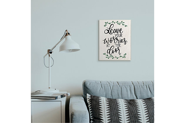 Leave Your Worries at the Door Quote 13x19 Wall Plaque, White, large