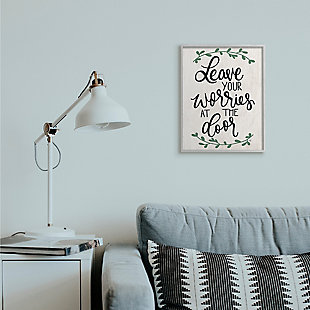 Leave Your Worries at the Door Quote 16x20 Gray Frame Wall Art, White, rollover