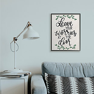 Leave Your Worries at the Door Quote 24x30 Black Frame Wall Art, White, large