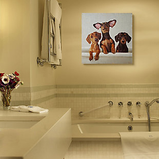 Dachshunds in the Tub Pet Dog Bathroom 36x36 Canvas Wall Art, Brown, rollover