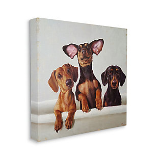Dachshunds in the Tub Pet Dog Bathroom 36x36 Canvas Wall Art, Brown, large