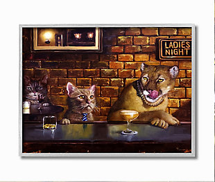 Cougar at the Bar Ladies Night Animal Humor 16x20 Gray Frame Wall Art, Brown, large