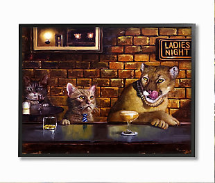Cougar at the Bar Ladies Night Animal Humor 24x30 Black Frame Wall Art, Brown, large