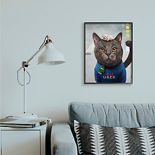 Cat Taxi Modern Day Animal Humor 24x30 Black Frame Wall Art, Gray, rollover
