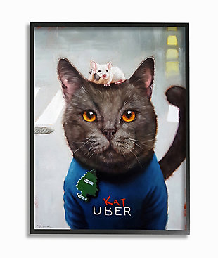 Cat Taxi Modern Day Animal Humor 24x30 Black Frame Wall Art, Gray, large