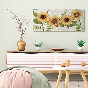 Sunflower and Vintage European Postcard Collage 17x40 Canvas Wall Art, , rollover