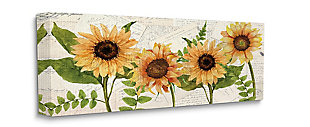 Sunflower and Vintage European Postcard Collage 17x40 Canvas Wall Art, , large