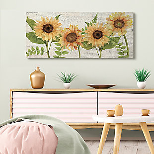 Sunflower and Vintage European Postcard Collage 20x48 Canvas Wall Art, , rollover