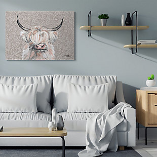 Grumpy White Buffalo on Floral Print 36x48 Canvas Wall Art, , rollover