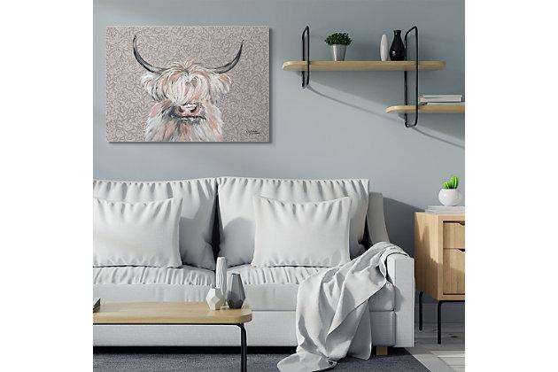 Grumpy White Buffalo on Floral Print 36x48 Canvas Wall Art, , large