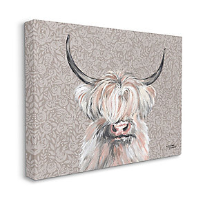 Grumpy White Buffalo on Floral Print 36x48 Canvas Wall Art, , large