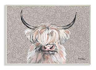 Grumpy White Buffalo on Floral Print 13x19 Wall Plaque, Gray, large