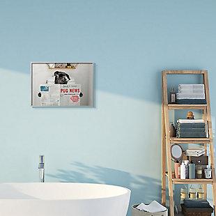 Bathroom Pug Daily Toilet Briefing 16x20 Gray Frame Wall Art, Gray, rollover