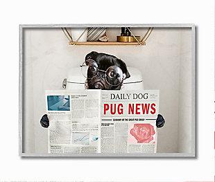 Bathroom Pug Daily Toilet Briefing 16x20 Gray Frame Wall Art, Gray, large