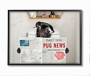 Bathroom Pug Daily Toilet Briefing 24x30 Black Frame Wall Art, Gray, large