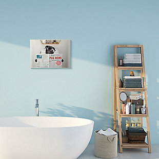 Bathroom Pug Daily Toilet Briefing 13x19 Wall Plaque, Gray, rollover
