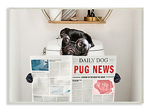 Bathroom Pug Daily Toilet Briefing 13x19 Wall Plaque, Gray, large