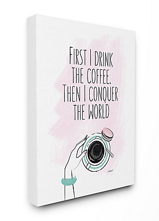 Coffee First Then Conquer Inspirational 36x48 Canvas Wall Art, White, large