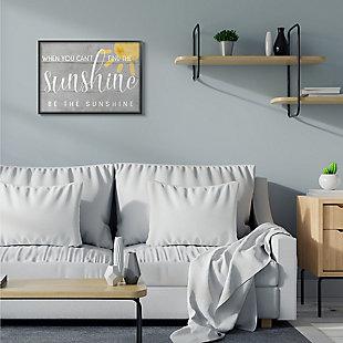 Be the Sunshine Positivity Phrase 24x30 Black Frame Wall Art, Gray, rollover